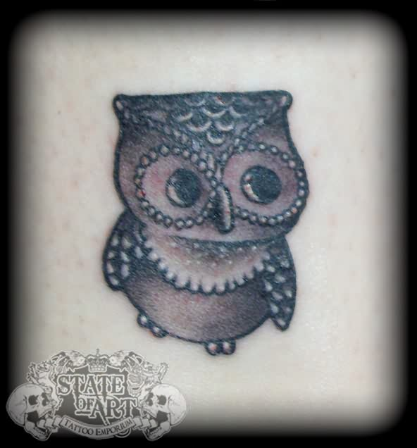 Cute Grey Owl Tattoo