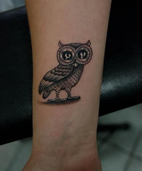 Cute Grey Owl Tattoo Near Wrist