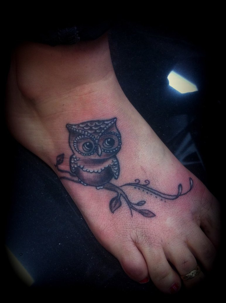 Cute Grey Owl Tattoo On Foot