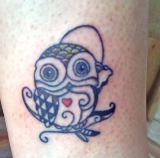 Cute Heart Stomach Owl Tattoo