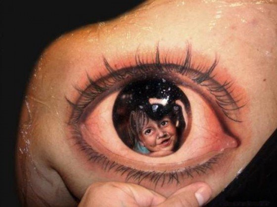 Cute Kid In Eye - 3D Tattoo