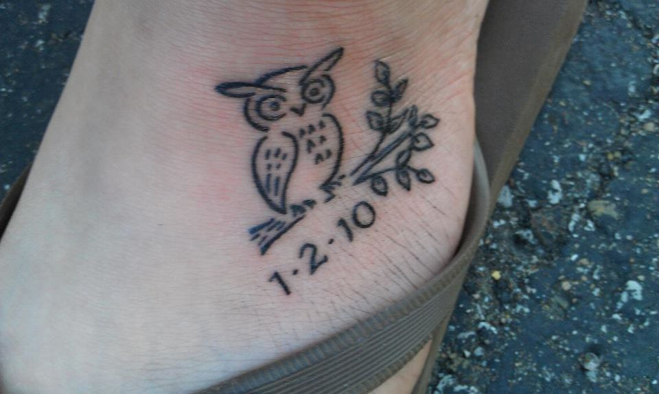 Cute Owl And Date Tattoos On Foot