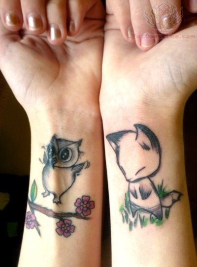Cute Owl And Fox Tattoos On Wrist