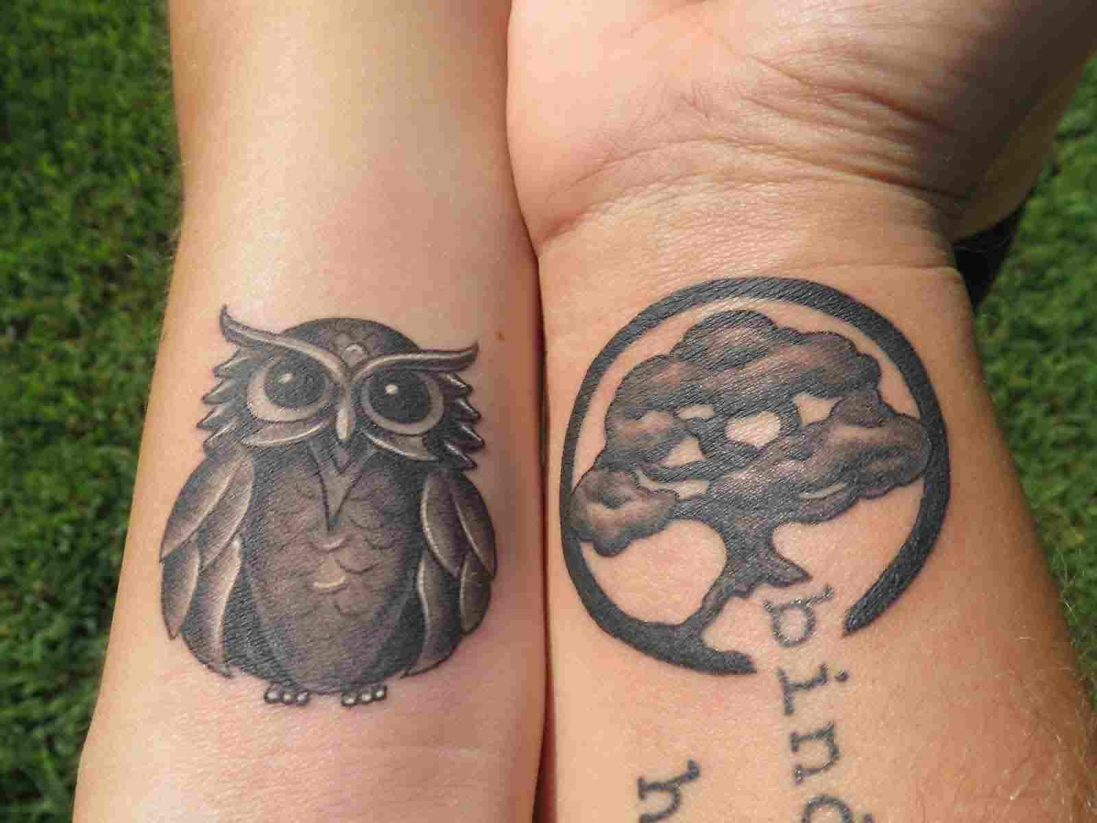 Cute Owl And Tree Circle Tattoos On Wrist