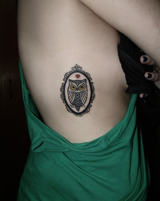 Cute Owl Frame Tattoo On Side For Young Girls
