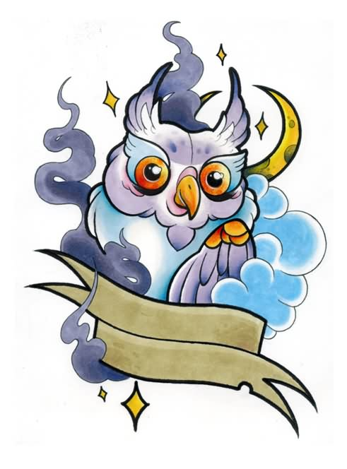 Cute Owl Moon And Banner Tattoo Designs