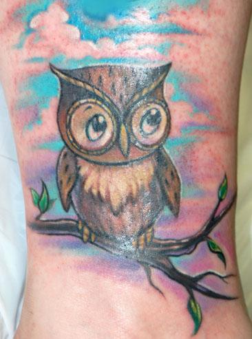 Cute Owl On Branch Tattoo