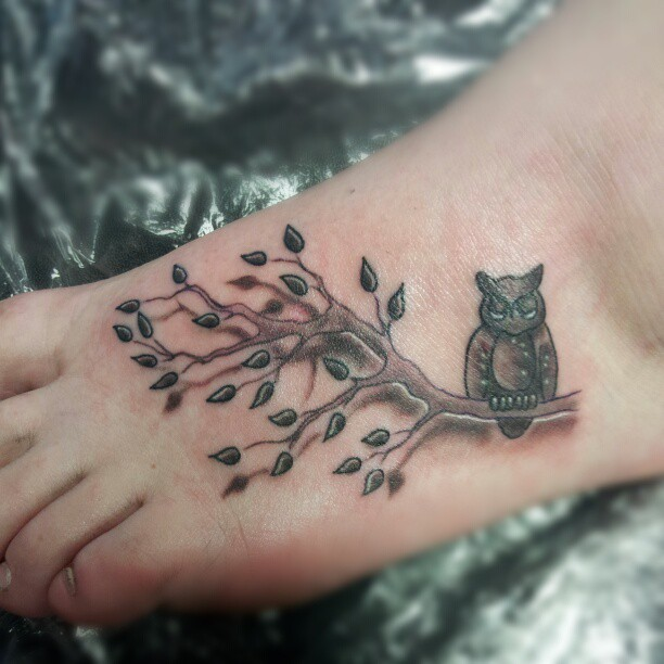 Cute owl tattoos on foot - photo#9