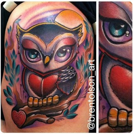 Cute Owl On Branch Tattoo On Shoulder