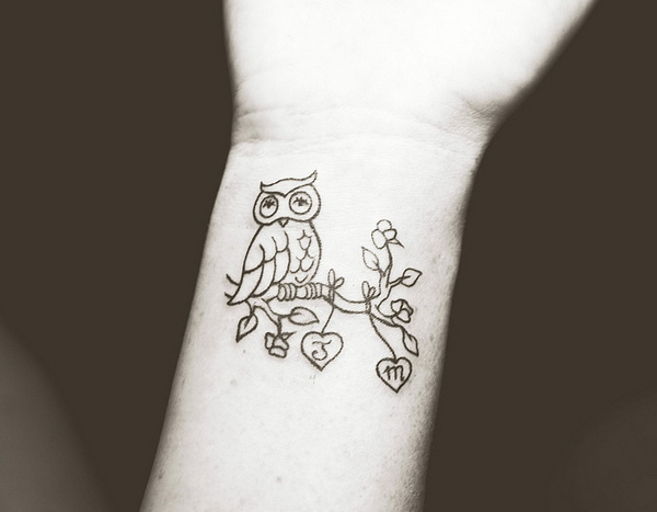 Cute Owl On Branch Tattoo On Wrist