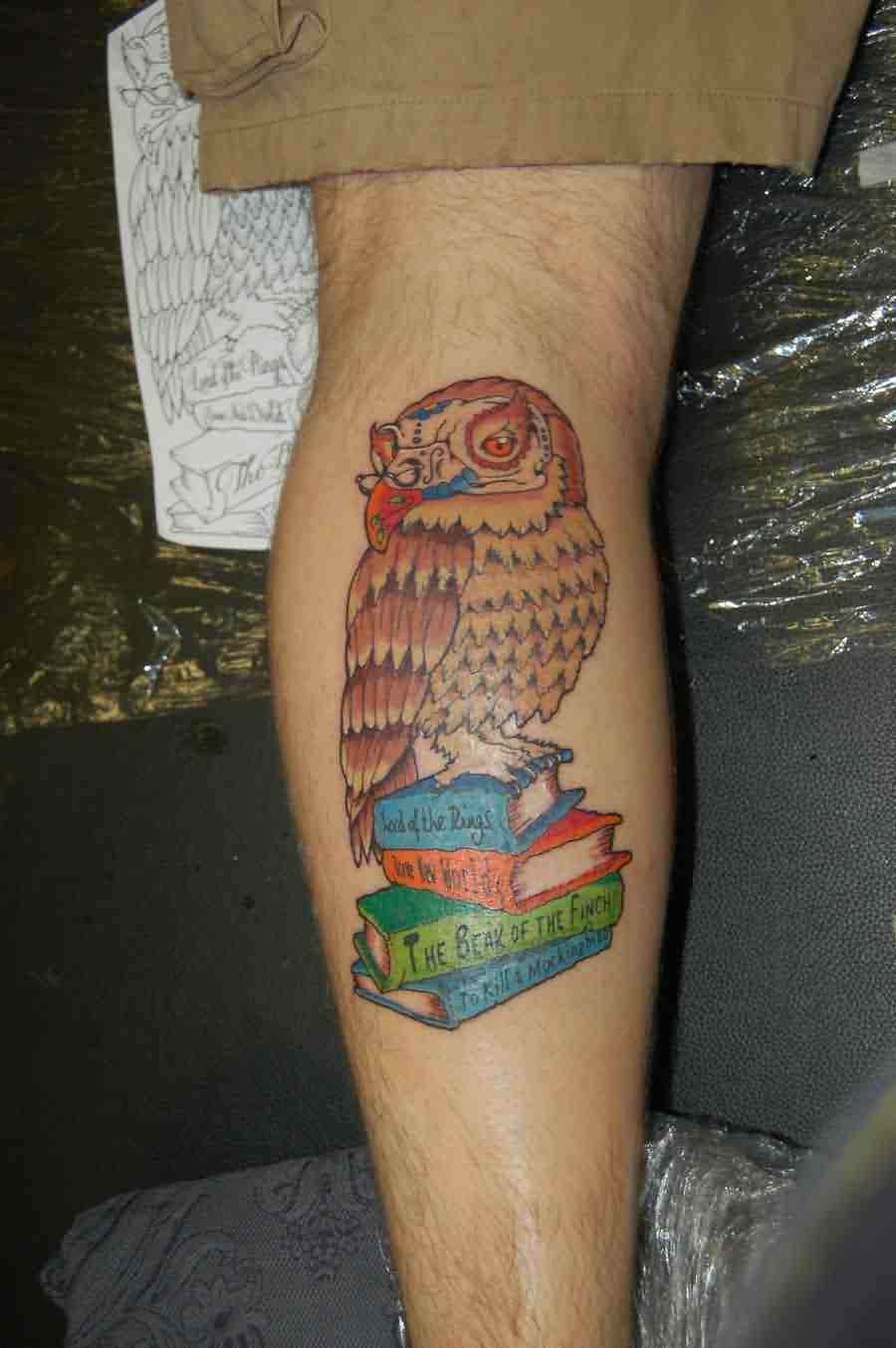 Cute Owl On Color Books Tattoo