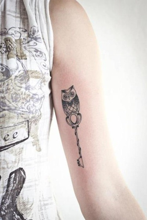 Cute Owl On Key Tattoo