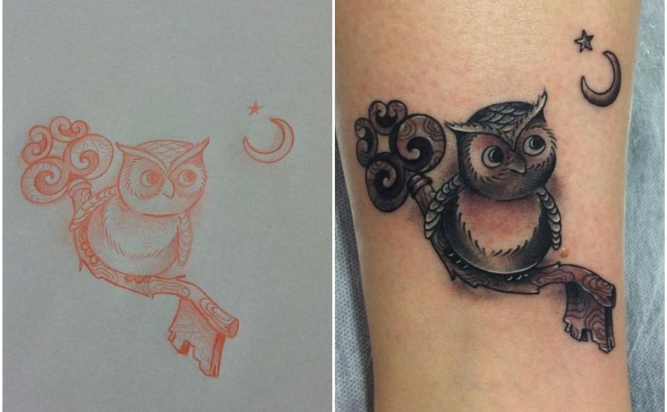 Cute Owl On Key Tattoos