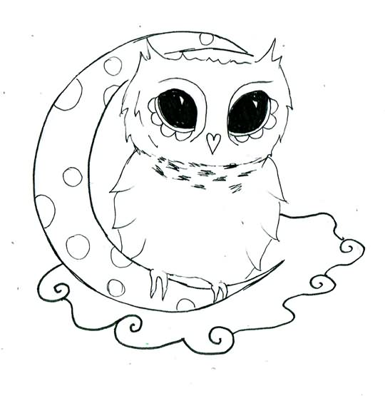 Cute Owl On Moon Tattoo Design