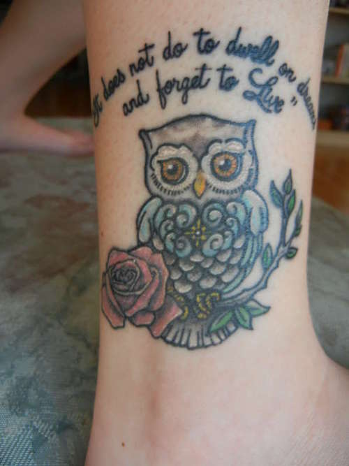 Cute Owl On Rose Branch Tattoo