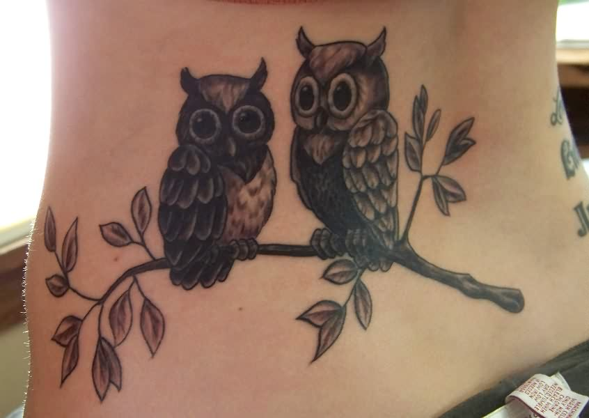 Cute Owl Sitting On Branch Tattoo