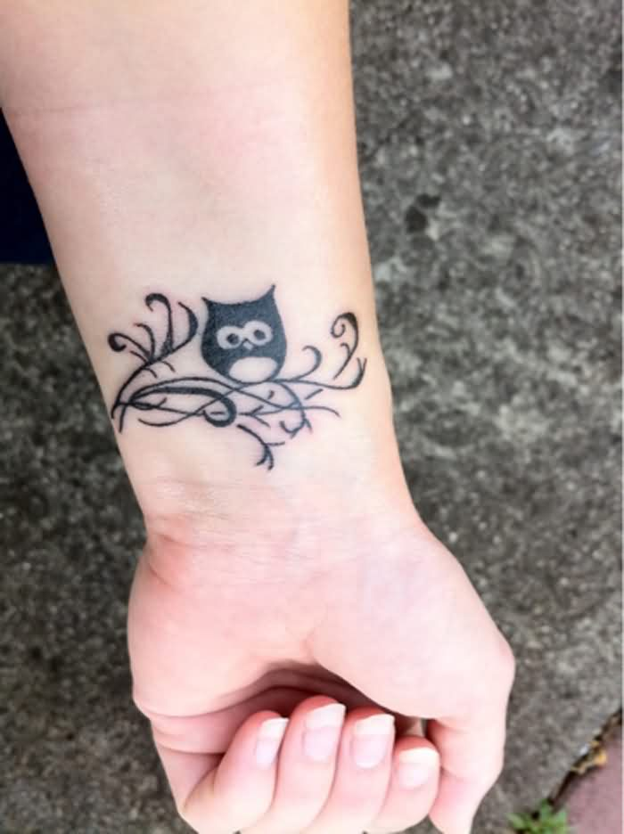Cute Owl Tattoo On Inner Wrist