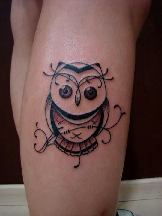 Cute Owl Tattoo On Leg For Girls