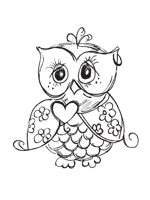 Cute Owl Tattoo Sample
