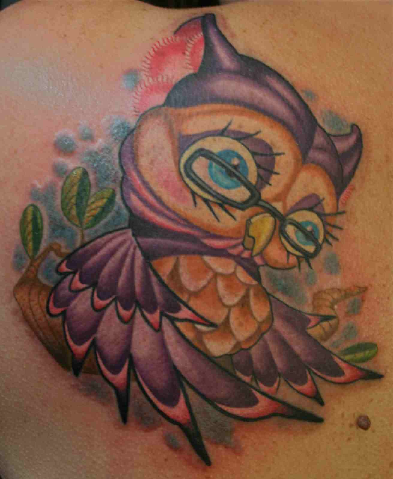 Cute Owl Wearing Glasses Tattoo