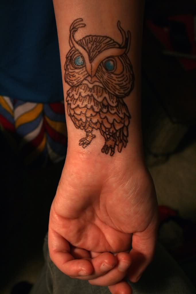 Cute Owl With Blue Eyes Tattoo On Wrist