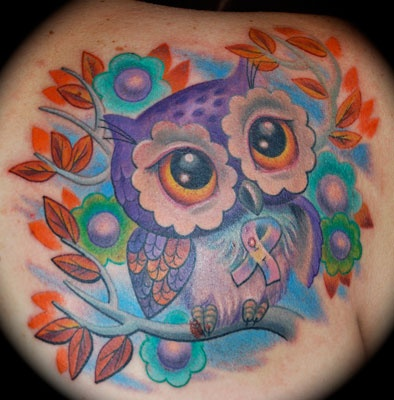 Cute Owl With Breast Cancer Ribbon Tattoo