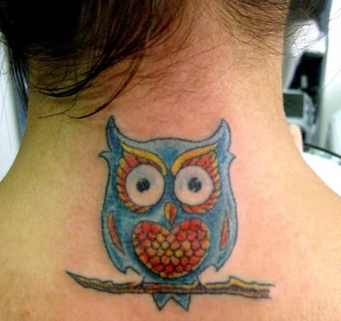 Cute Owl With Heart Stomach Tattoo On Back Neck