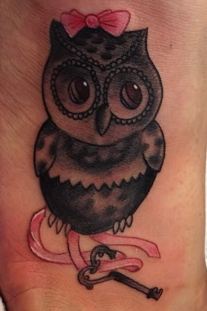 Cute Owl With Pink Bow Tattoo
