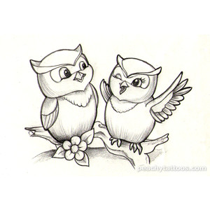 Cute Owls Bird Tattoo Design