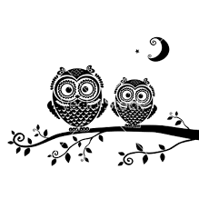 Cute Owls On Branch Tattoo Design