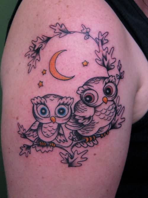 Cute Owls On Branch Tattoo On Biceps