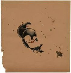 Cute Penguin And Butterfly Tattoos Print