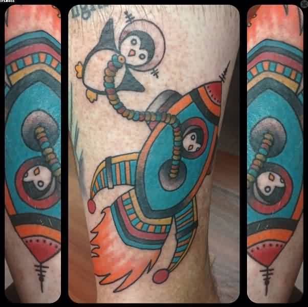 Cute Penguin And Color Fish Tattoos