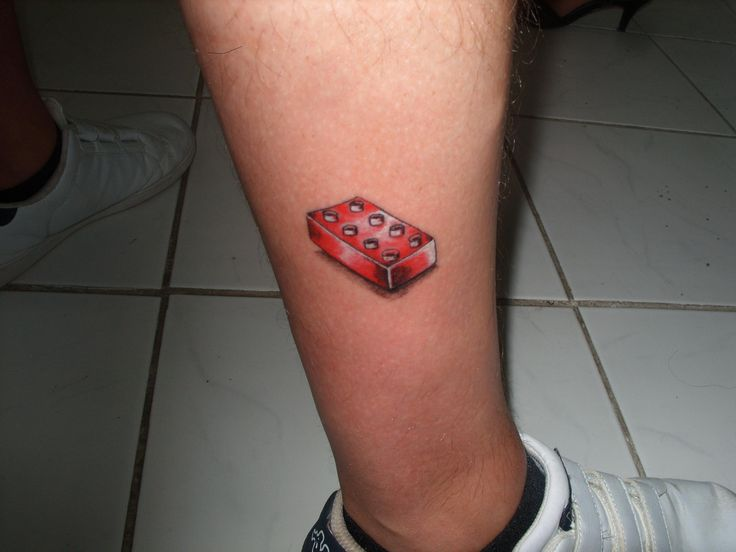 Cute Red 3D Tattoo On Leg For Boys