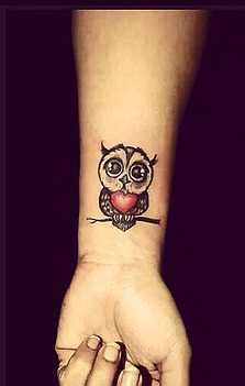 Cute Red Heart Owl Tattoo On Wrist