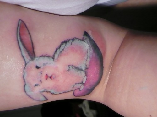 Cute White Rabbit On Heart Tattoo