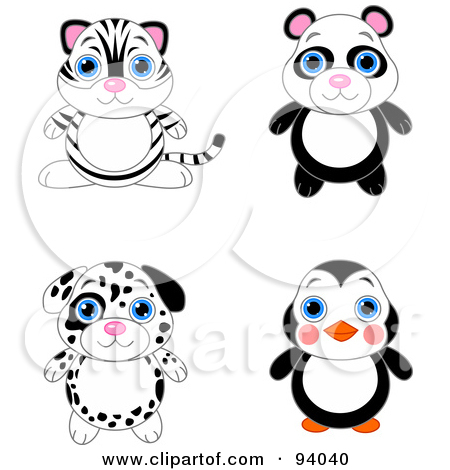 Cute White Tiger Panda Dalmatian Puppy And Penguin Tattoos Set