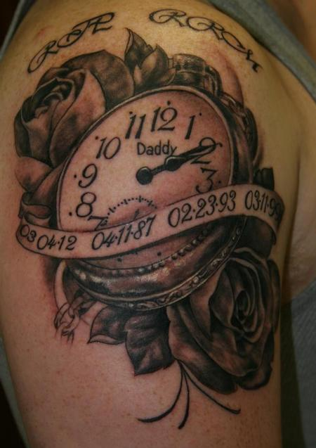 Daddy Clock And Rose Tattoos On Shoulder