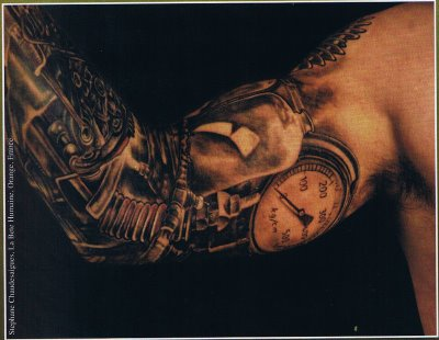 Dark 3D Biomech Tattoos On Sleeve