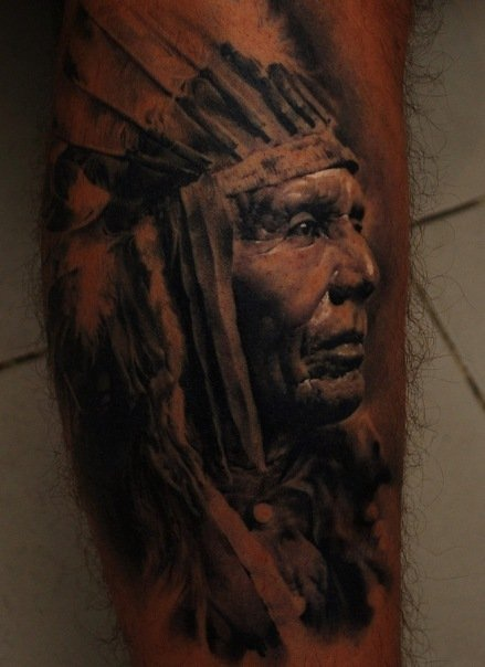 Dark 3D Native People Portrait Tattoo