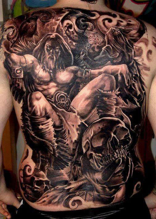 Dark 3D Tattoos On Entire Back