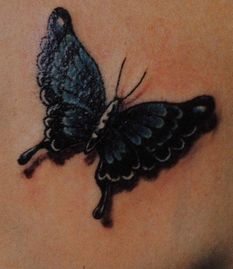 Dark Color 3D Butterfly Tattoo