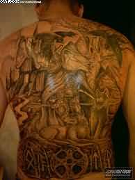 Dark Warrior Tattoos On Back Body