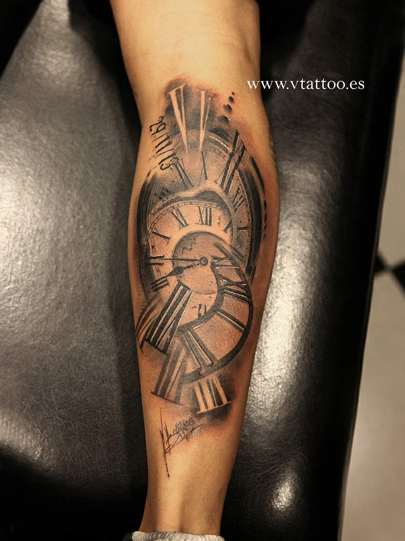 Date And Clock Realistic Tattoos On Arm
