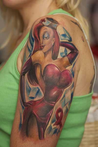 Dazzling Jessica Rabbit Nurse Pin Up Tattoo On Shoulder