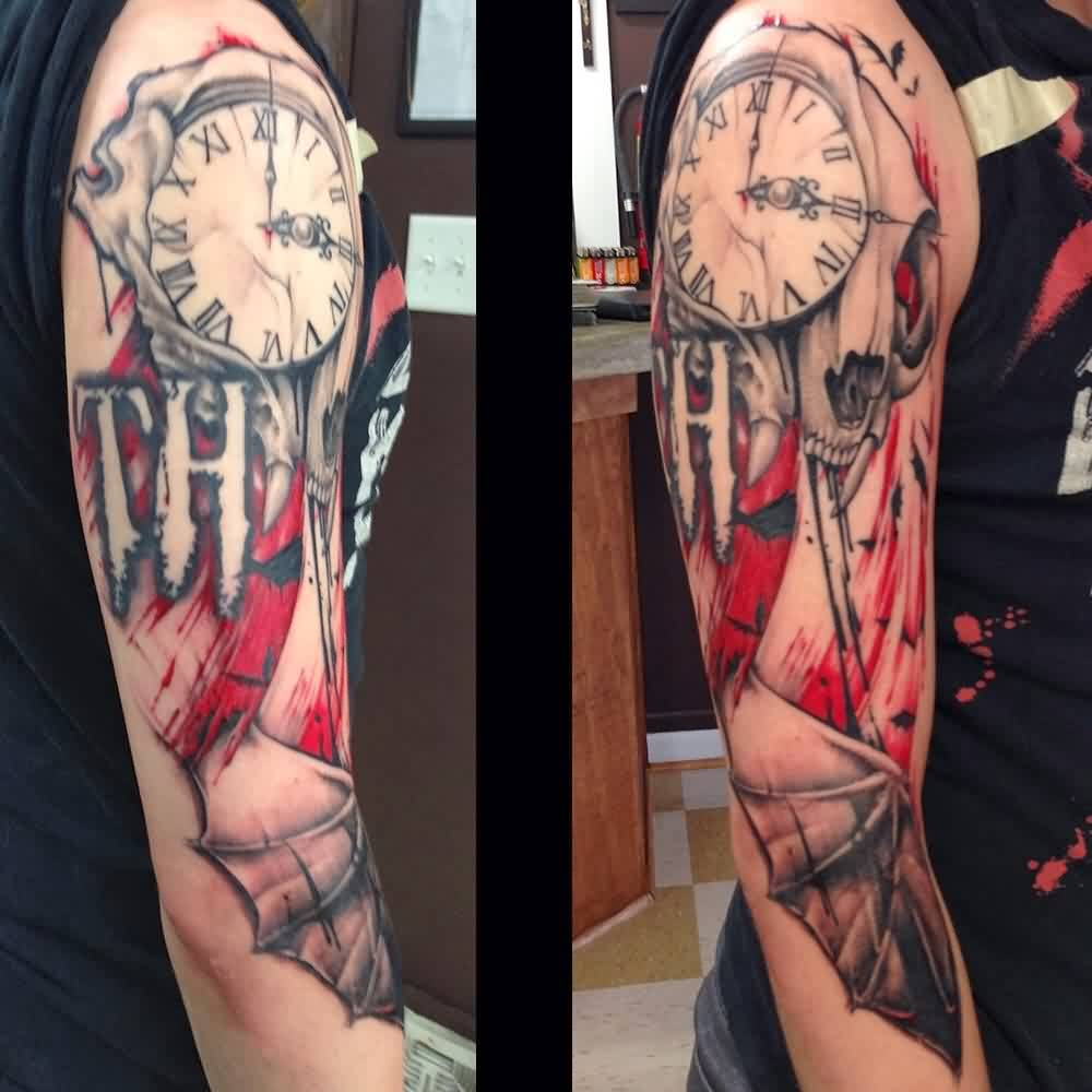 Death Clock Tattoo On Sleeve