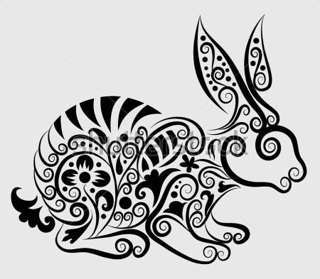 Decorative Rabbit And Floral Ornaments Tattoo Design