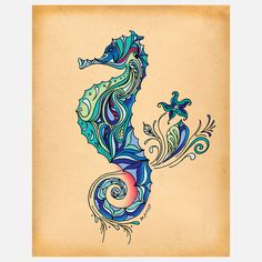 Decorative Seahorse Tattoo Flash