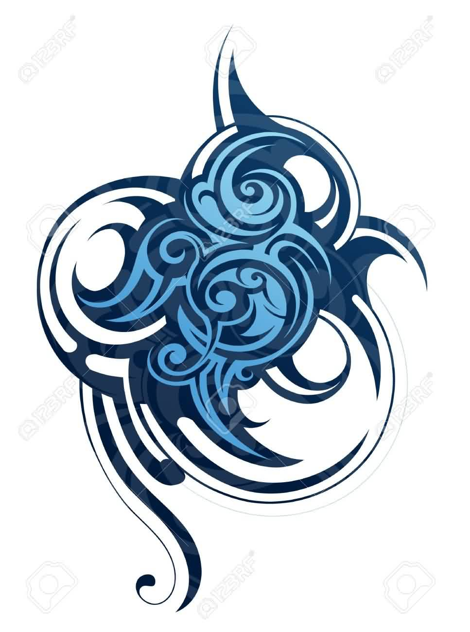 Decorative Tribal Wave Tattoo Design