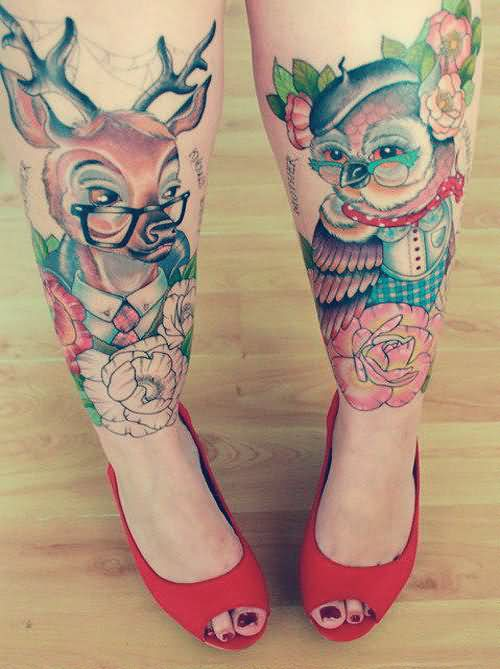 Deer And Owl Tattoos On Legs